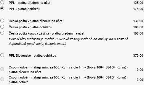 d9ad3dd72 U objednávek zboží v celkové hodnotě nad 1.900,-Kč a platbě předem je  doprava v rámci České republiky zdarma. U objednávek zboží v celkové  hodnotě nad 1.900 ...