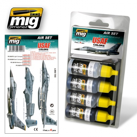 USAF Colors Grey Modern Jets Set 4x17ml 085/A.MIG-7202
