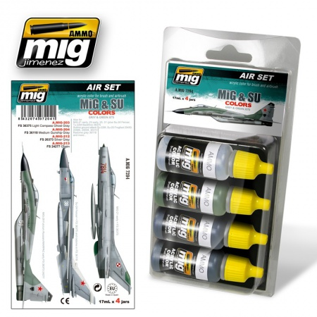 MiG & SU Colors Grey & Green Fighterst Set 4x17ml 085/A.MIG-7204