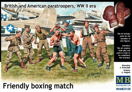 British and American paratroopers, WW II era, Friendly boxing match. 096/MB35150