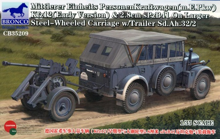 Mittlerer Einheits PersonenKraftwagen (m.E.Pkw) Kfz12 (Early Version) & 2.8cm. sPzB41 on Larger Steel-Wheeled Carriage w/Trailer Sd.Ah.32/2 062/CB35209