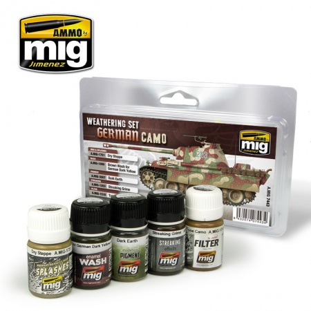 German Camouflage Weathering Set 4x35ml, 1x30ml 085/A.MIG-7443