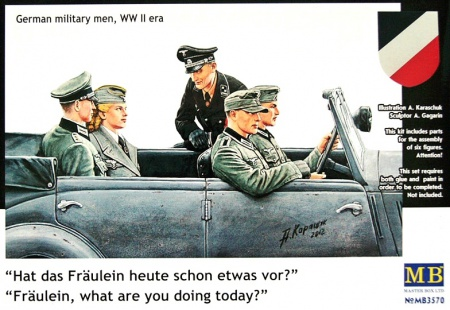 Hat das Fräulein heute schon etwas vor? Fräulein, what are you doing today? German military men, WW II era 096/MB3570