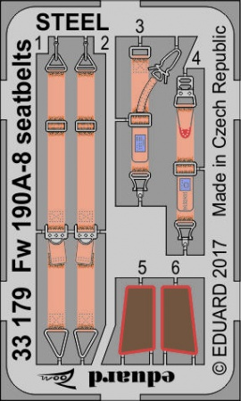 Fw 190A-8 seatbelts STEEL  S.A. ZOOM (1:32 Revell) 003/33179