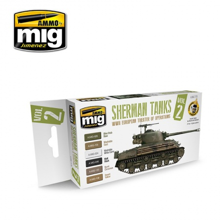 Sherman Tanks Vol. 2 (WWII European Theater of Operations) Colors 6x17ml 085/A.MIG-7170