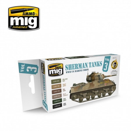 Set Sherman Tanks Vol. 3 (WWII US Marine Corps) Colors 6x17ml 085/A.MIG-7171