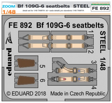 Bf 109G-6 seatbelts STEEL S.A. ZOOM (1:48 Tamiya) 003/FE892