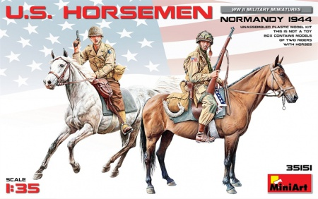 US Horsemen, Normandy 1944 (2 fig.+ 2 horses) 089/35151