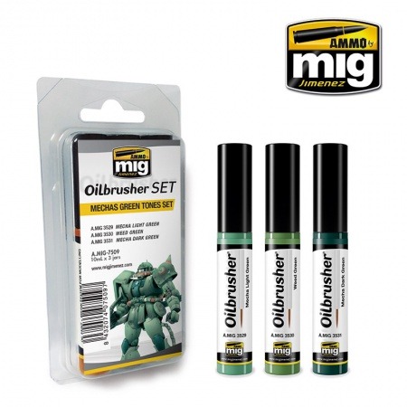 Mechas Green Tones Color Set - Oil paint with fine brush applicator 3x10ml 085/A.MIG-7509