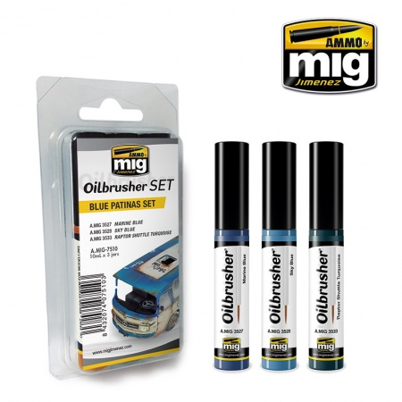 Blue Patinas Set - Oil paint with fine brush applicator 3x10ml 085/A.MIG-7510
