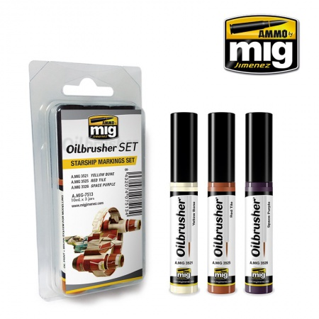 Starship Markings Set - Oil paint with fine brush applicator 3x10ml 085/A.MIG-7513