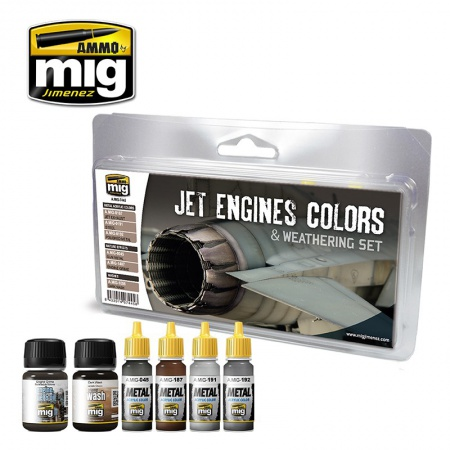 Jet Engine Colors and Weathering Set 2x35ml, 4x17ml 085/A.MIG-7445