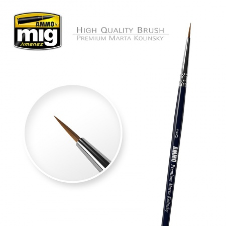 2/0 Premium Marta Kolinsky Round Brush