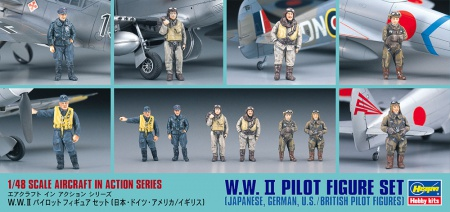 WW.II Pilot Figure Set (Japanese German U.S/British Pilot Figures) 007/X48-7