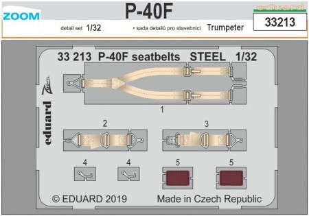 P-40F seatbelts STEEL ZOOM (1:32 Trumpeter)
