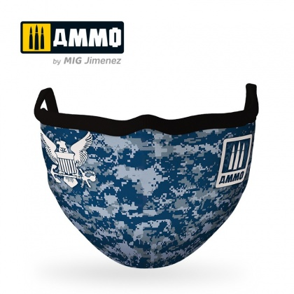 Navy Blue Camo AMMO Face Mask