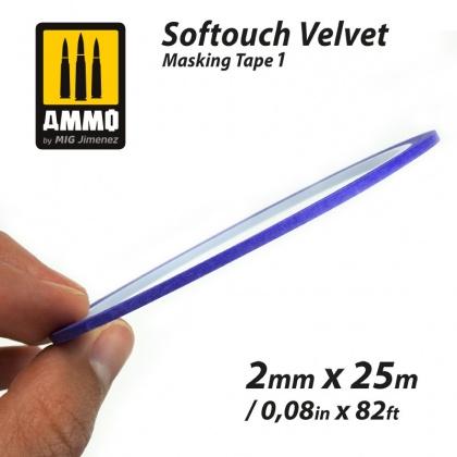 Softouch VELVET Masking Tape 1 (2mm x 25m)