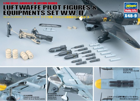 Luftwaffe Pilot Figures & Equipments Set W.W. II 007/X48-9