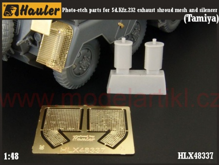 Sd.Kfz.232 exhaust shroud mesh and silencer (Tamiya) 039/HLX48337